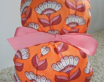Turn Up Ponytail Surgical Scrub Hat with Flower Blooms Orange Pink