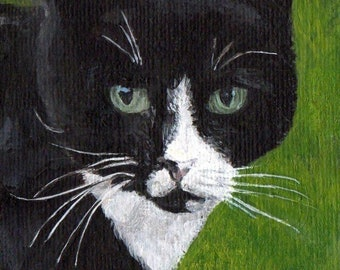 Original Black and White Cat Art ACEO Acrylic Painting