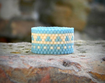 Size 8 Wide band ring Beautiful ring for women Ethnic jewelry Peyote beaded band ring Nice womens ring Boho chic ring Hippie seed bead ring