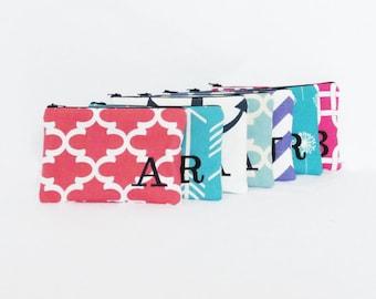 Set of 7 - Cosmetic Bag - Monogram Makeup Pouch - Bridesmaid bags - Wallet - Make up Organizer - Medium