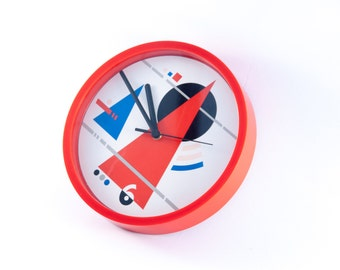 Modern wall clock, unique wall clock, design wall clock, 90s wall clock, geometric clock, minimal clock, red clock, red industrial clock
