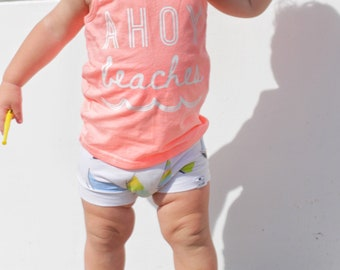 Ahoy Beaches, Baby Graphic Tee, Gender Neutral Baby Clothes, Beach Baby, Baby Tank, Peach Tank Top,Toddler Shirt,Baby Boy, Baby Girl Clothes