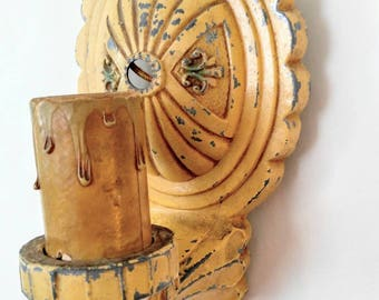 CLEARANCE SALE-Art Deco Antique/Vintage Wall Sconce-Light-Off Yellow-Metal-Single-Candlestick-Original and Uncleaned-Awesome Chippy Paint
