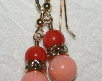 CORAL DROP EARRINGS ...Two Tone, Pink And Salmon