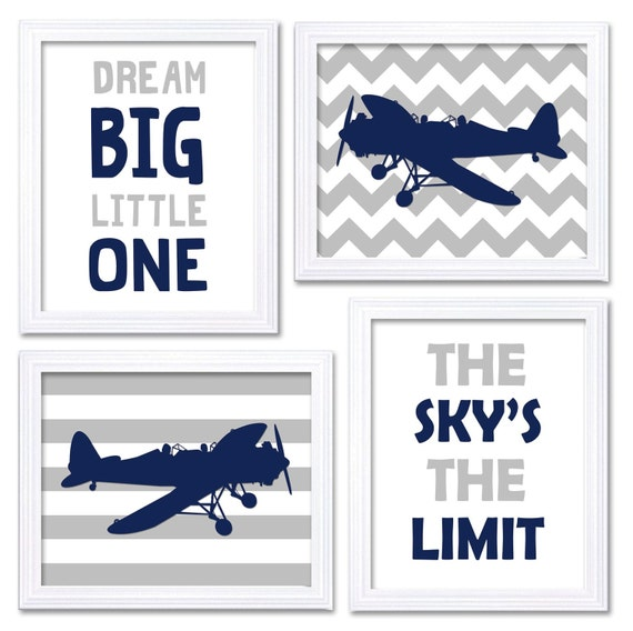 Boy S Room Airplane And Constellation Wall Map: Airplane Nursery Art Navy Grey Nursery Print Set Of 4