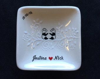 Engagement, Wedding gift - pandas Personalized Hand Painted Ceramic Ring Dish, ring holder- Anniversary, Valentine's Day