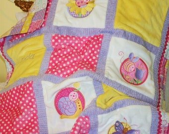 "Embroidered Minky Baby Blanket ""Spring Has Sprung"""