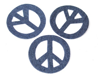 3 PCS Denim patch applique transferred by Hot Fix, Iron On for Fashion Embellishment