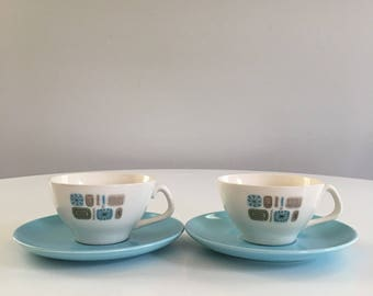 Vintage Temporama Teacups and Saucers, Set of 2, Canonsburg Temporama, Retro Atomic Modern, Mid Century Modern Cups and Saucers
