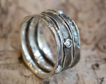 Boho ring, Silver ring, wide band, pearls band, wide silver ring, pearls ring, mothers ring, stacking bands, gypsy - Rolling stones. R1020S