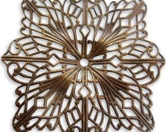 1 - Vintaj Princess Cut 49mm Filigree Connector / Focal / Pendant / Embellishment / Accent / Wrap - Antique Brass