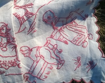 Victorian French Country Kitchen Café Curtain Shelf edging 1880's Pink Embroidered Linen Home Decor Windmill Villagers #sophieladydeparis