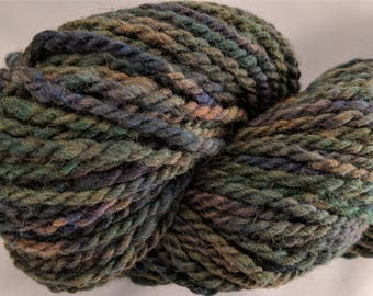"""Super Bulky Handspun Hand Dyed Yarn Babydoll Southdown Wool & Alpaca 106 Yards Muted Green Brown Blue Two Ply  """" Forest Path  """" (more avail)"""