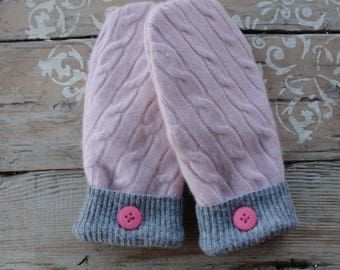 Pink Cabled Cashmere Sweater Mittens with Buttons