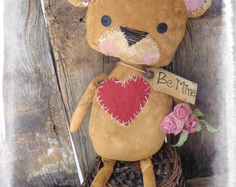 "Primitive 19"" Teddy Bear with Roses, Valentine's Day Gift, Brown Bear, Primitive Valentine Decor, Folk Art Doll,"