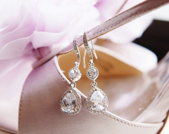 Crystal Bridesmaid Earrings Maid of Honor Gift Bridesmaid Gift Bridal Earrings Crystal CZ Dangle Drop Earrings Wedding Jewelry