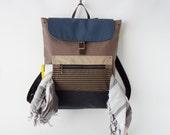 Unisex, choco brown canvas backpack / Laptop bag / diaper bag / school bag/ diaper backpack, 7 inside pockets. Waterproof lining available