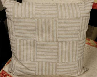 Zippered Pillow Cover Striped Patchwork Tan Cream Neutral