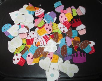 set of felt cupcake colors greed shape