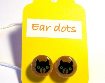 Cat Face Studs,Ear Dots, Earrings,Studs,Painted little Wood Dots,
