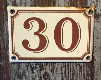 Vintage French enamel house number - number 30. Light brown and brown writing
