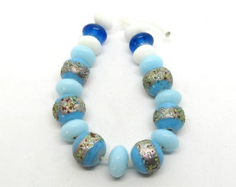 19pc Handmade Lampwork Glass Bead Set - Blues and White (B504d1)