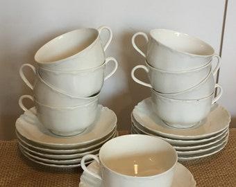 Hivaland France White Tea Cup & Saucer Set, Vintage White Tea Cup Set, White Embossed Tea Cups