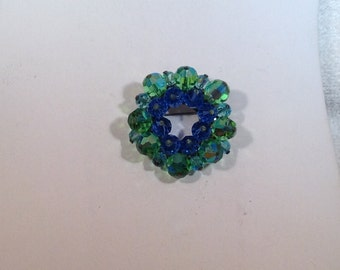Blue and Green Crystal Brooch