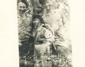 vintage photo 1940s Men in Philippenes Lady Double Exposure Abstract