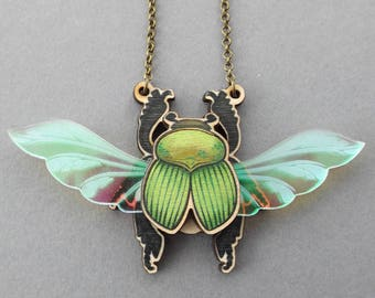 Iridescent Scarab Beetle Insect Laser Cut Statement Necklace, Entomology Bug Beetle Scarab Insect Wood Acrylic Jewellery, Birch Please