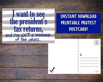 Resistance Postcard - Anti Trump Postcard - Resist Trump - Equal Rights - Protest - Resistance - Printable Postcard  - Instant Download