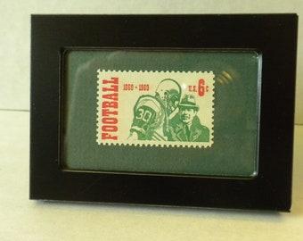 Ingelijst postzegel voetbal stempel, vintage 6 cent munt Amerikaanse postzegel 1969, voetbal collectible, bedankje geschenk, waardering cadeau