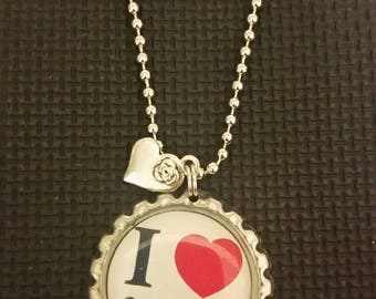 I Love heart Gymnastics bottlecap necklace cute ball chain necklace with charm