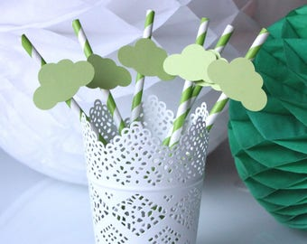 Set of 6 pale green clouds for baptism or birthday straws
