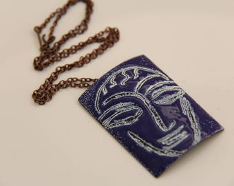 EN1048 - ENAMEL COPPER PENDANT, Enamel Pendant, Sgraffito Design, Copper, Vintaj Chain, Mother's Day Gift, Anniversary