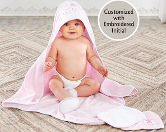 Pink Princess Hooded Bath Towel, Baby Bath Towel, Terry Cloth Towel, Princess Bath Towel, Baby shower gift, Baby Aspen Bath time gift set