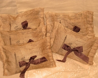 Vintage Muslin Carte Postale from Paris Sachet Handmade Filled with French Lavender Set of 5 OXOXO