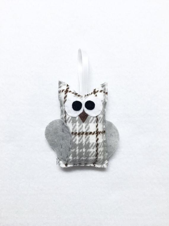 Owl Ornament, Plaid Christmas Ornament, Janice the Snowy Owl, Teacher Gifts, Woodland Animal, Bird, Felt Animals