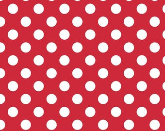 Red Polka Dot Fabric - Riley Blake Medium Dot - Red and White Dot Fabric