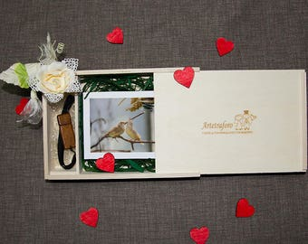 "X6 Photos 4 ""x6""-15 boxes pictures with accommodation pendrive packaging wooden Wedding Brides photo"