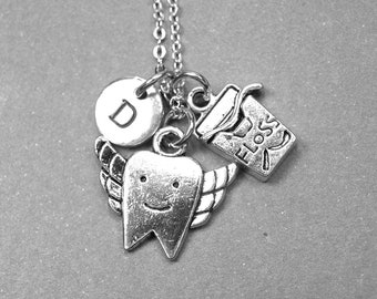 Dental assistant necklace, Dental necklace, floss necklace, tooth necklace, tooth floss necklace, medical necklace, initial charm, monogram
