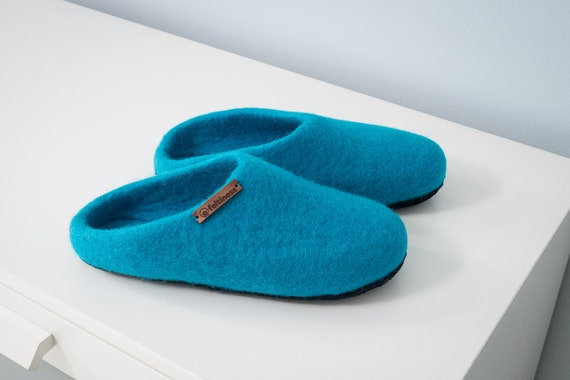 with Slippers sole leather Wool 100 handmade Felt 61wZqpZ