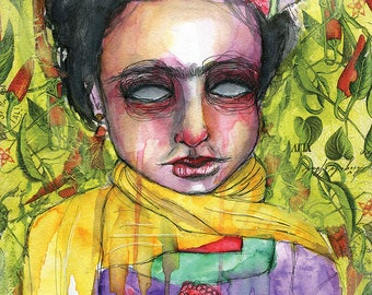 Frida In Peppers- Mixed Media Giclee Art Print by Amber Button