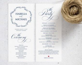 Navy Blue Wedding Program Template, Wedding Ceremony Program, Printable Programs, Kraft Wedding Program, fan, PDF Instant Download, WPC_263