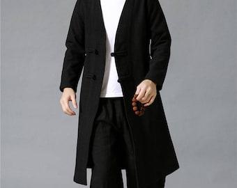 Men Autumn and Winter Linen and Cotton Coat – Retro Style Men Hanfu Jacket