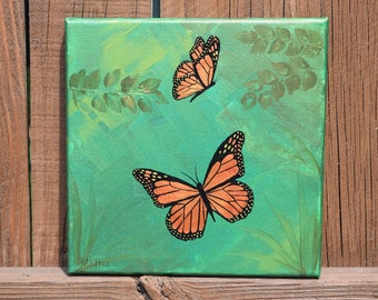 Mighty Monarch Butterflies Painting on 8x8 Canvas
