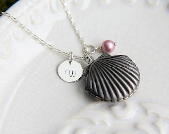 SALE, Sea Shell Locket Necklace, Personalized Locket, Locket Pendant, Beach Jewelry, Personalized Necklace, Bridesmaid Gift, Beach Wedding