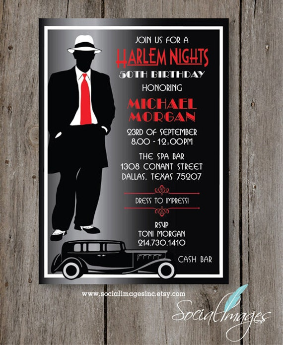 Harlem nights birthday party invitation digital file stopboris Image collections