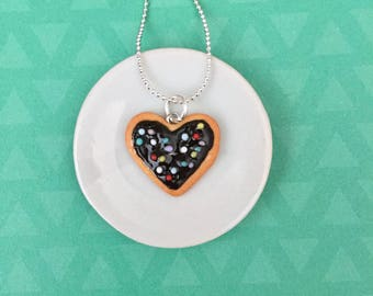 Sprinkles Heart Cookie Pendant Necklace - polymer clay miniature food jewelry