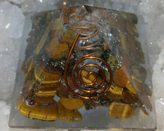 Tiger eye Natural Stone Orgone Pyramid 50 MM With Copper - Pyrite
